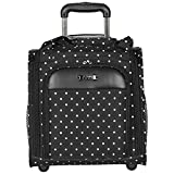 Geometric Polka Dots Design Carry On Rolling Lightweight Laptop Tote, Softsided Geo Classic Circles Themed, Multi Compartment, Fashionable, Checkpoint Friendly Soft Travel Bag, Black, White, Size 14''