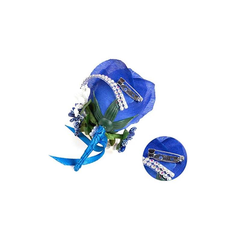 silk flower arrangements 4/6/8pcs flower men boutonniere handmade silk men corsage for groom wedding party suits (royal blue)