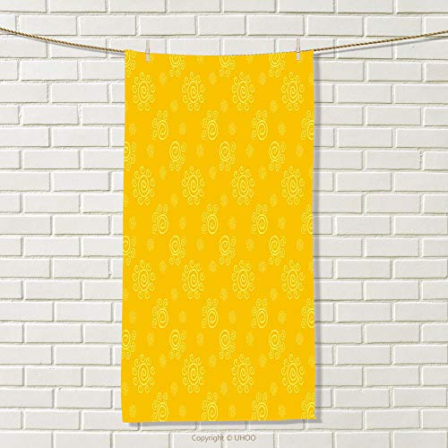 smallbeefly Yellow Sports Towel Sun Solar Hand Drawn Style Pattern with Little Spiral Spots Like Hot Summer Day Inspired Absorbent Towel Yellow Size: W 35.5'' x L 31'' by smallbeefly