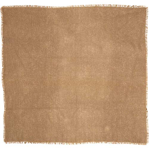 VHC Brands 6175 Burlap Natural Table Topper Fringed 40x40 -