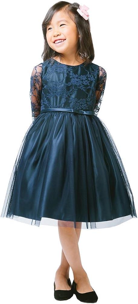 Sweet Kids Little Girls Navy Lace Sleeve Ballerina Christmas Dress 5