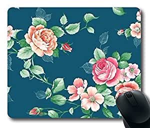 "Beautiful Floral Pattern Rectangle Oblong Mouse Pad Design Mousepad in 220mm*180mm*3mm (9""*7"") -81931"