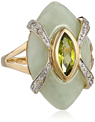 Yellow Green Peridot Diamond Accent