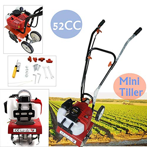NOPTEG 52cc 2 Strok Mini Tiller Garden Cultivator Rotary Hoe Tine Tiller Mini Cultivator Pro Machine for Soil Loosening Equipment 1E44F Air-Cooled