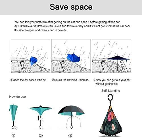 Leaves ユニセックス二重層防水ストレート傘車逆折りたたみ傘C形ハンドル付き