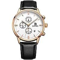 BINGER Unisex Date Three Sub Dials Black Calfskin Strap Watch with Big White Dial,Champagne Gold Bezel