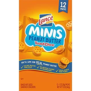 Lance Sandwich Crackers Minis, ToastChee Peanut Butter, 12 Ct Snack Packs