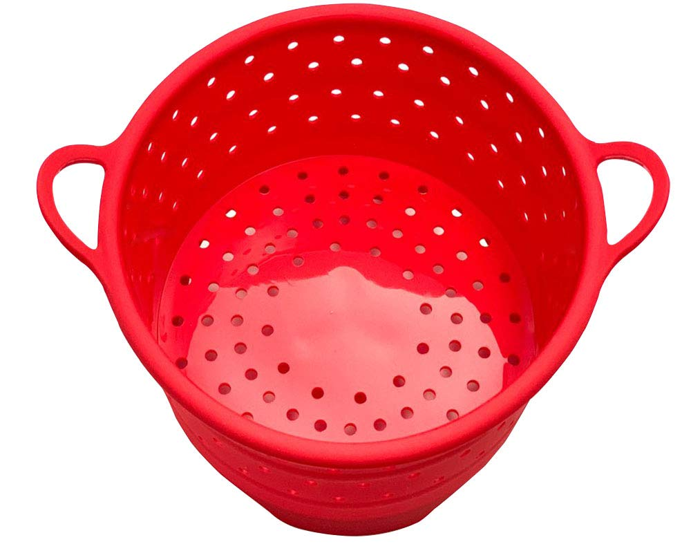 Silicone Instant Pot Steamer Basket, Compatible Instant Pot IP Pressure Cooker, Durable & Non-Scratch & BPA-FREE Stackable Silicone Vegetable Egg Basket (Red)