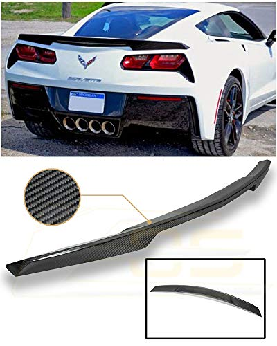 Extreme Online Store Replacement for 2014-Present Chevrolet Corvette C7 | EOS Z51 Package Style Carbon Fiber Rear Trunk Lid Wing Spoiler SPOILER-100-BKCF