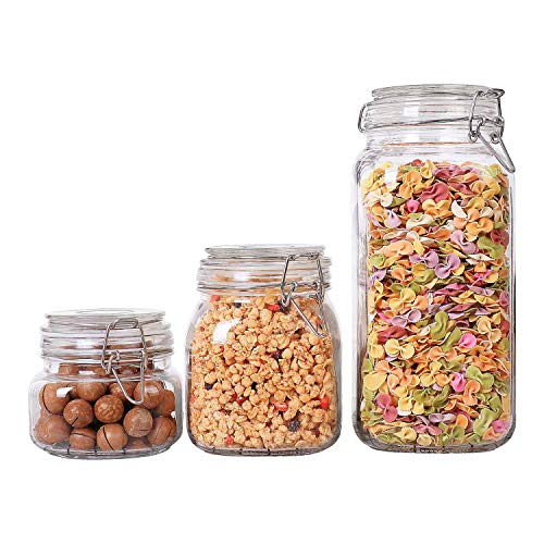 ComSaf Airtight Glass Canister Set of 3 with Lids 17/34/78oz Food Storage Jar – Storage Container with Clear Preserving Seal Wire Clip Fastening for Kitchen Canning Cereal,Pasta,Sugar,Beans,Spice
