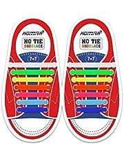 أربطة حذاء للأطفال بدون ربطة من هومار مصنوعة من السيليكون المقاوم للماء، أربطة حذاء مرنة مسطحة، متعددة الألوان