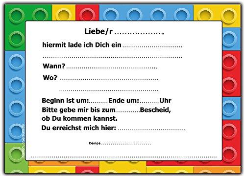 12 Er Set Lustige Einladungskarten Zum Kindergeburtstag Bausteine Bauklötze  Party Geburtstag Einladung Witzig Cool Text Kinder Jungen Mädchen Steine ...