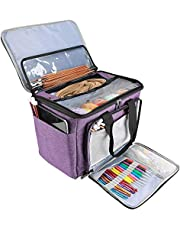 ProCase Knitting Bag, Yarn Storage Organizer Tote Bag with Cover and Inner Divider for Projects, Circular and Straight Knitting Needles, Crochet Hooks, Skeins of Yarn (No Accessories Included) -Purple