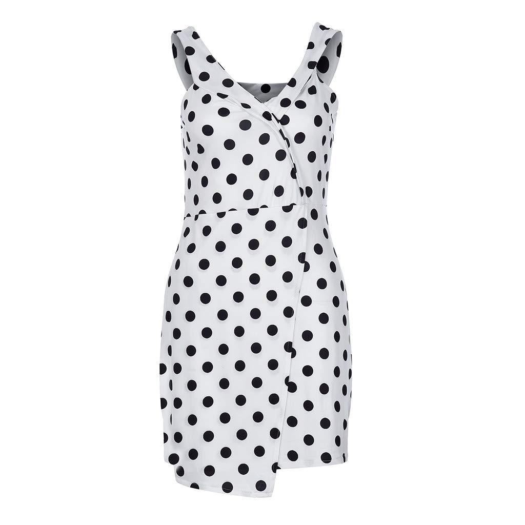 Cloudro Dress Short Sleeve Off Shoulder Polka Dot Wrap Mini Dress Summer Holiday