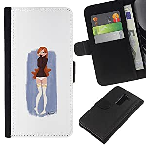 YiPhone /// Tirón de la caja Cartera de cuero con ranuras para tarjetas - Pintura linda chica - LG G2 D800