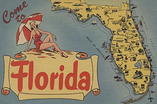 Come to Florida Map of the State, Pin-Up Girl - Vintage Halftone (9x12 Art Print, Wall Decor Travel Poster)