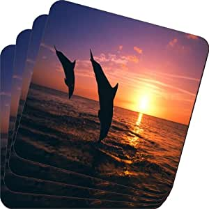 Rikki Knight Dolphin Silhouette in Water Design Soft Square Beer Coasters (Set of 2), Multicolor