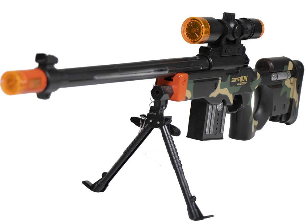 Zoom Novelties Superior Performance Toy Sniper Rifle with Flashing Lights Sound and Vibration for Party Favors Gifts Prizes Rewards.