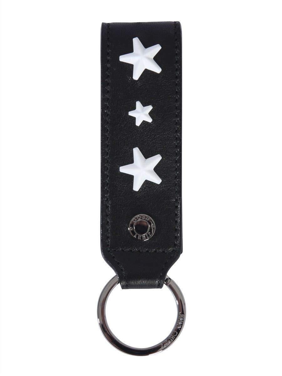 Jimmy Choo Men's Warwickenlblackwhite Black Leather Key Chain