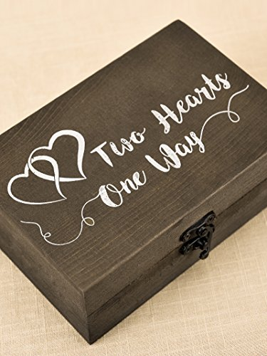 AW Wood Ring Box Rustic Ring Bearer Holder Decorative Wedding Engagement Jewelry Boxes 5.9'' x 3.9'' x 2.17'' by AWEI (Image #3)