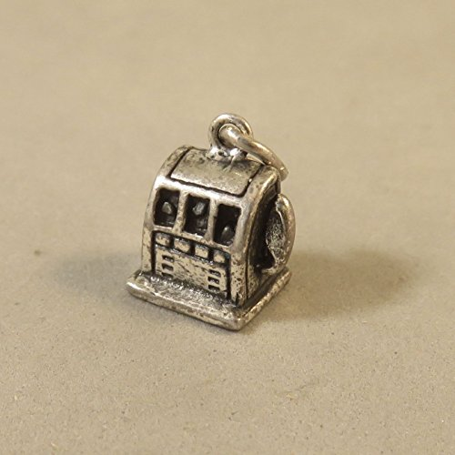 Estate Vintage Antique - VINTAGE Silver Small SLOT MACHINE Bracelet CHARM Estate Antique Las Vegas VT443E Jewelry Making Supply Pendant Bracelet DIY Crafting by Wholesale Charms