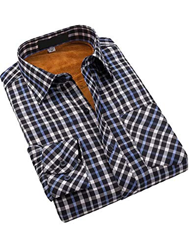 Flygo Men's Casual Long Sleeve Plaid Fleece Lined Button Up Shirt Jacket (Large, 5) -