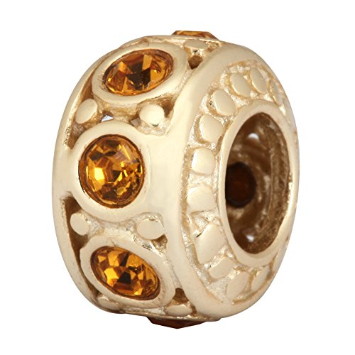 14k Gold Platted Sterling Silver Charm November Birthstone Charm Bead Topaz Swarovski Birthstone Crystal for European Charm Bracelets EC282