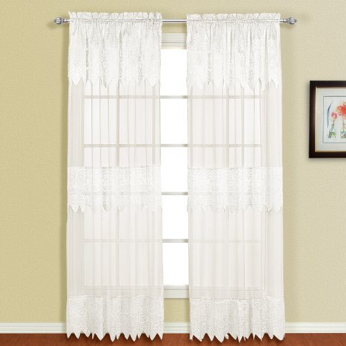 (United Curtain Valerie Lace Sheer Window Curtain Panel, 52 by 84-Inch, White)