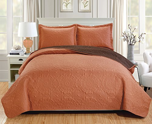 Lexington Chocolate - RT Designers Collection Quilt Set Lexington 3-Piece Reversible, King, Spice/Chocolate