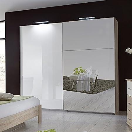 Armario de puertas correderas 225 cm de alto brillo de madera de roble para el dormitorio de un armario en el armario: Amazon.es: Hogar
