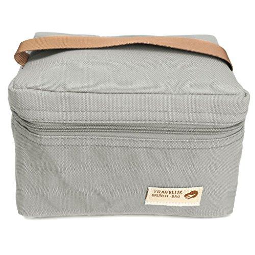 Portable Sac Isotherme à Stockage Boîte de Repas Conteneur Alimentation pour Pique-nique Ecole - Gris