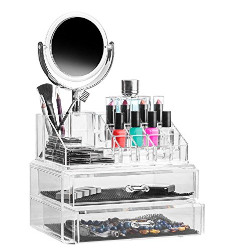 Solly's Claudia Acrylic Jewelry & Cosmetic Storage Display Box Organizer with Mirror - - Transparent Mirror