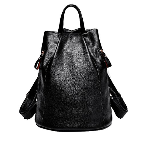 Large Backpack Purse for Women - Genuine Leather Daypacks Shoulder School Bag Casual Satchel for Ladies Girls (Black)