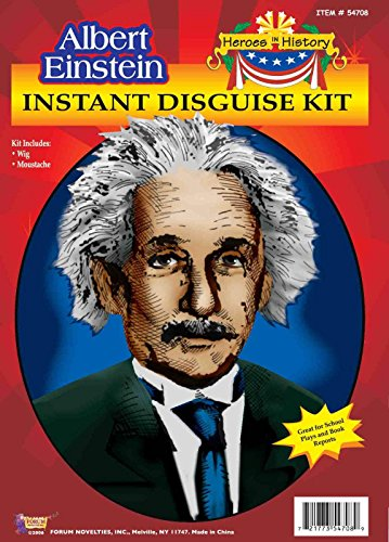 Instantly Recognizable Costumes (Forum Novelties Men's Heroes In History Albert Einstein Costume Wig and Mustache, White, One Size)