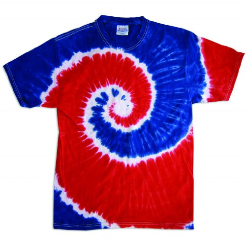 Tie Dye Shirt Spiral Red White Blue USA T-Shirt 10-12 (Boys Blue Tie Dye)
