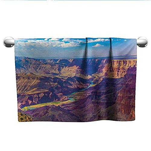 (alisoso Canyon,Tea Towel Aerial View of Epic Grand Canyon Activity of River Stream Over Rock Plateau Print Bathroom Hand Towels Blue Tan W 20