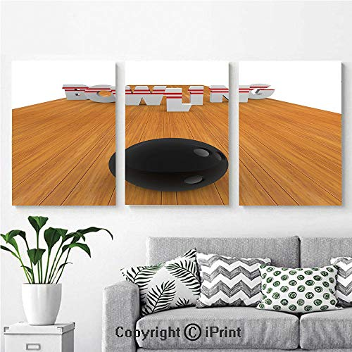 Art Framed Wall Mural Bowling Alley with Skittles and Ball in Position Decorative for Home Decor 3 Panels,Wall Decorations for Living Room Bedroom Dining Room Bathroom Office Li ()