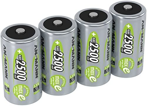 ANSMANN C Size Batteries [Pack of 4] Long Lasting Low Self Discharge Rechargeable C Type 2500 mAh NiMH MaxE Pro Battery For Flashlights, Operating Machines, Toys, LED Torch Lights