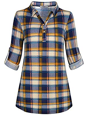 Cestyle Women'S Collared Roll-Up 3/4 Sleeve Casual Loose Polo Plaid Shirt