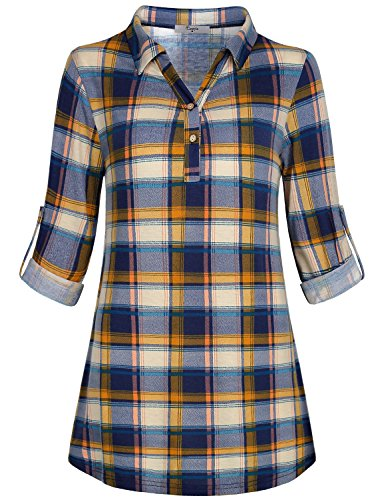 Cestyle Collared Shirt Women, Juniors Plaid Button Down Blouses Peasant Pleat Female Stylish Polo Tunic Long Sleeve 3/4 Dressy Sleek Tall Boyfriend Knit Gingham Petite Tops Flattering Blue M