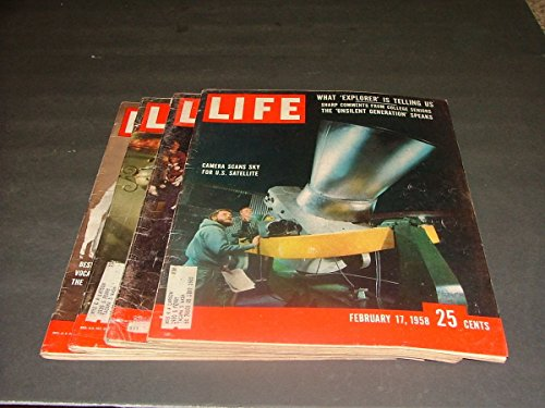 4 Issues Life February 17 24, March 10 17, 1958 Space Race Begins, Cuban - Cuban Magazine Vintage