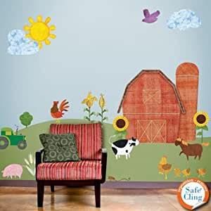 My Wonderful Walls Repositionable and Removable Farm Theme Wall Sticker Kit, Multicolored