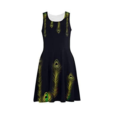 b78e1a4ca57 D-Story Custom Dress Peacock Feather Women Sleeveless Sundress at ...