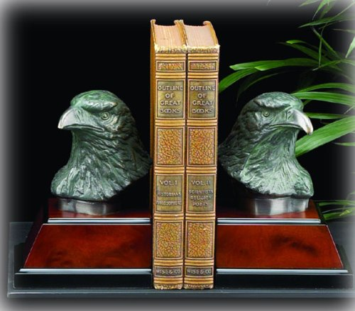 Bronzed Eagle Head Bookends on Wood ()