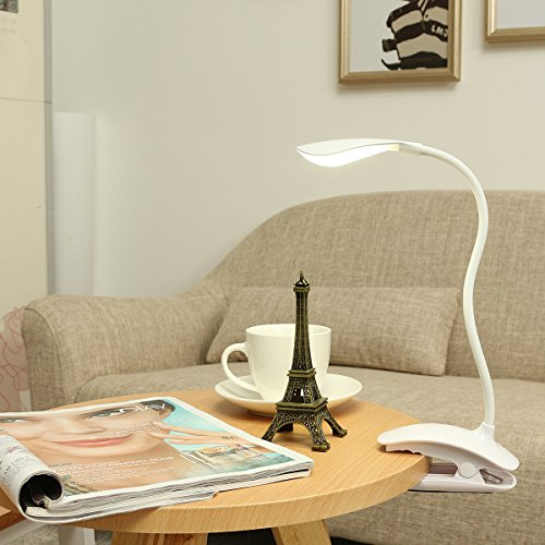 Clamp Light, GLISTENY Reading Light 3-Level Dimmer Natura...
