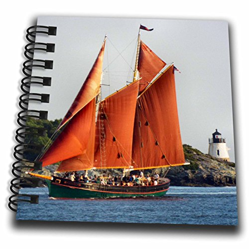 3dRose Renderly Yours Scenic Inspirations - Beautiful Aurora Schooner Sailing Past Castle Hill Lighthouse - Mini Notepad 4 x 4 inch (db_269452_3)