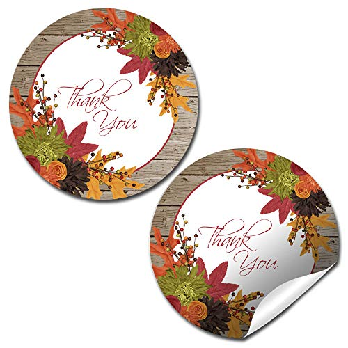 (Fall In Love Autumn Leaves Thank You Sticker Labels, 40 2