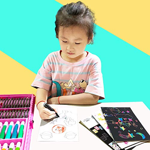 HighFun Scratch Art Set with Patterns for Kids,Rainbow Magic Scratch Paper,Unicorn Scratch Paper,Black Scratch Art Crafts for Kids Activities Birthday Party Game
