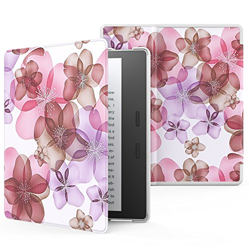 MoKo Case for All-New Kindle Oasis (9th Generation, 2017 Release) - Premium Ultra Lightweight Shell Cover with Auto Wake / Sleep for Amazon Kindle Oasis E-reader Case, Floral Purple
