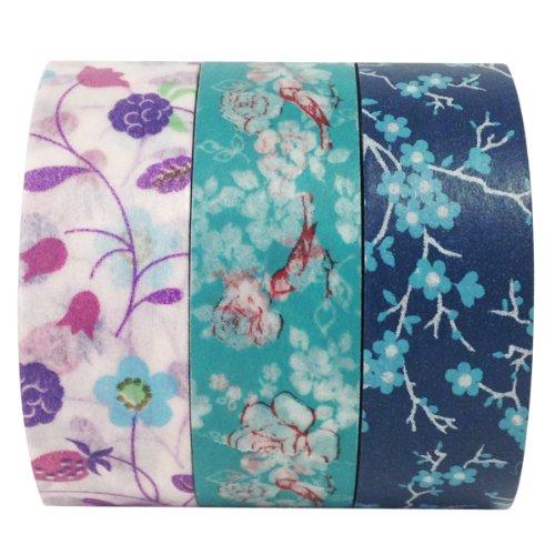 - Wrapables Sweet Dusk Washi Masking Tape, 10M by 15mm, Set of 3